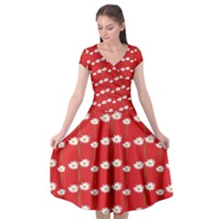 Sunflower Red Star Beauty Flower Floral Cap Sleeve Wrap Front Dress