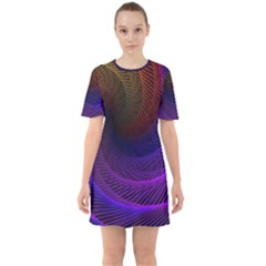 Striped Abstract Wave Background Structural Colorful Texture Line Light Wave Waves Chevron Mini Dress