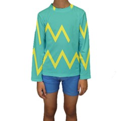 Waves Chevron Wave Green Yellow Sign Kids  Long Sleeve Swimwear