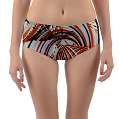 Splines Line Circle Brown Reversible Mid Waist Bikini Bottoms