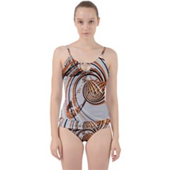 Splines Line Circle Brown Cut Out Top Tankini Set