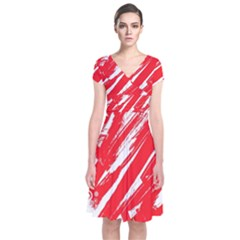 Valentines Day Heart Modern Red Polka Short Sleeve Front Wrap Dress