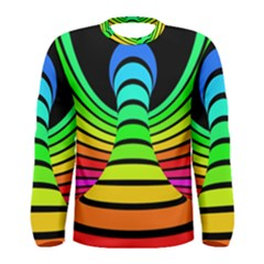Twisted Motion Rainbow Colors Line Wave Chevron Waves Men s Long Sleeve Tee