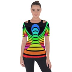 Twisted Motion Rainbow Colors Line Wave Chevron Waves Short Sleeve Top