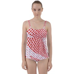 Waves Wave Learning Connection Polka Red Pink Chevron Twist Front Tankini Set