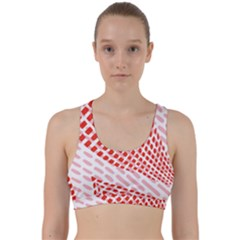 Waves Wave Learning Connection Polka Red Pink Chevron Back Weave Sports Bra
