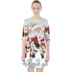 Funny Santa Claus With Snowman Pocket Dress