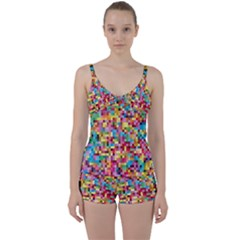 Mosaic Pattern 2 Tie Front Two Piece Tankini