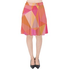 Mosaic Pattern 3 Velvet High Waist Skirt