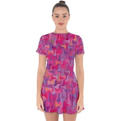 Mosaic Pattern 4 Drop Hem Mini Chiffon Dress