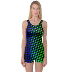 Digitally Created Halftone Dots Abstract Background Design One Piece Boyleg Swimsuit