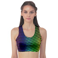 Digitally Created Halftone Dots Abstract Background Design Sports Bra
