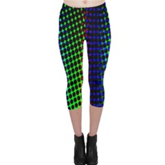 Digitally Created Halftone Dots Abstract Background Design Capri Leggings