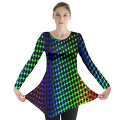 Digitally Created Halftone Dots Abstract Background Design Long Sleeve Tunic