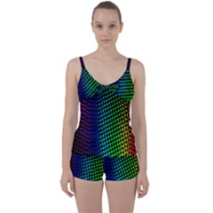 Digitally Created Halftone Dots Abstract Background Design Tie Front Two Piece Tankini