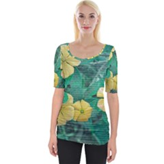 Yellow Flowers At Nature Wide Neckline Tee