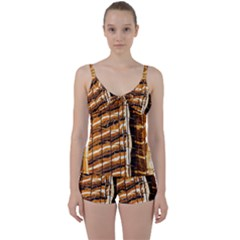 Abstract Architecture Background Tie Front Two Piece Tankini