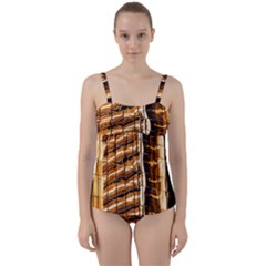 Abstract Architecture Background Twist Front Tankini Set