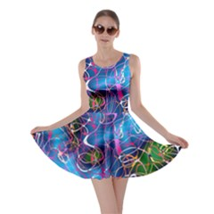 Background Chaos Mess Colorful Skater Dress