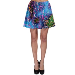 Background Chaos Mess Colorful Skater Skirt