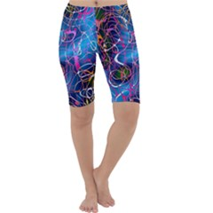 Background Chaos Mess Colorful Cropped Leggings