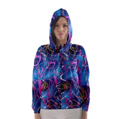 Background Chaos Mess Colorful Hooded Wind Breaker (women)
