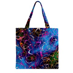 Background Chaos Mess Colorful Zipper Grocery Tote Bag