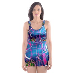 Background Chaos Mess Colorful Skater Dress Swimsuit