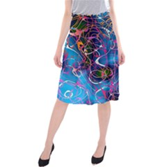 Background Chaos Mess Colorful Midi Beach Skirt