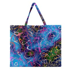 Background Chaos Mess Colorful Zipper Large Tote Bag