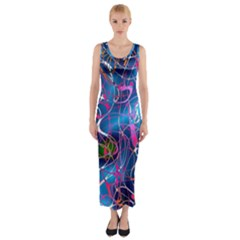 Background Chaos Mess Colorful Fitted Maxi Dress