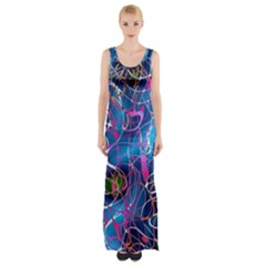 Background Chaos Mess Colorful Maxi Thigh Split Dress