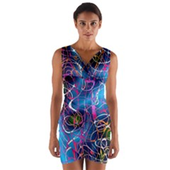 Background Chaos Mess Colorful Wrap Front Bodycon Dress