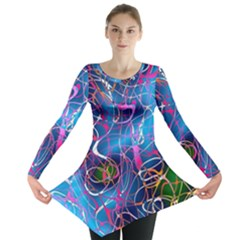 Background Chaos Mess Colorful Long Sleeve Tunic
