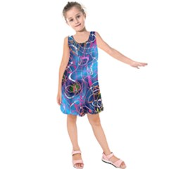 Background Chaos Mess Colorful Kids  Sleeveless Dress