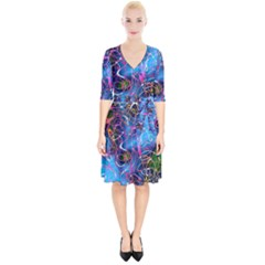 Background Chaos Mess Colorful Wrap Up Cocktail Dress