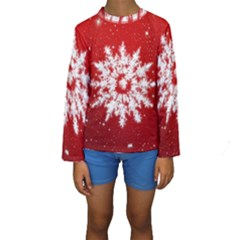 Background Christmas Star Kids  Long Sleeve Swimwear
