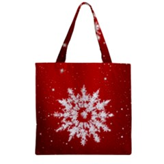 Background Christmas Star Zipper Grocery Tote Bag