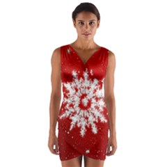 Background Christmas Star Wrap Front Bodycon Dress