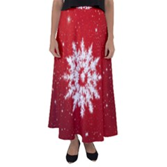 Background Christmas Star Flared Maxi Skirt