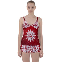 Background Christmas Star Tie Front Two Piece Tankini