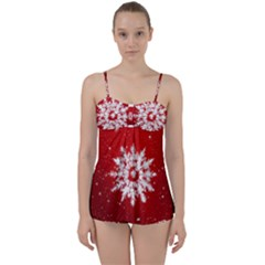 Background Christmas Star Babydoll Tankini Set