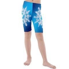 Background Christmas Star Kids  Mid Length Swim Shorts