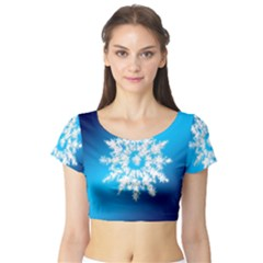 Background Christmas Star Short Sleeve Crop Top (tight Fit)