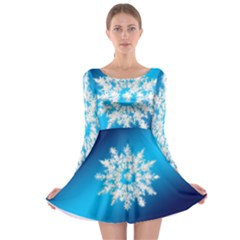 Background Christmas Star Long Sleeve Skater Dress