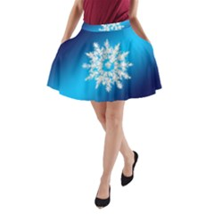 Background Christmas Star A Line Pocket Skirt