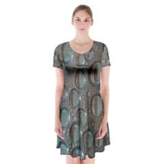 Drop Of Water Condensation Fractal Short Sleeve V Neck Flare Dress