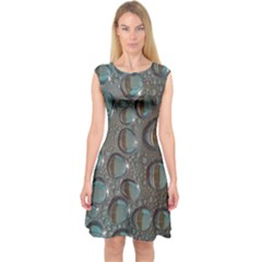 Drop Of Water Condensation Fractal Capsleeve Midi Dress