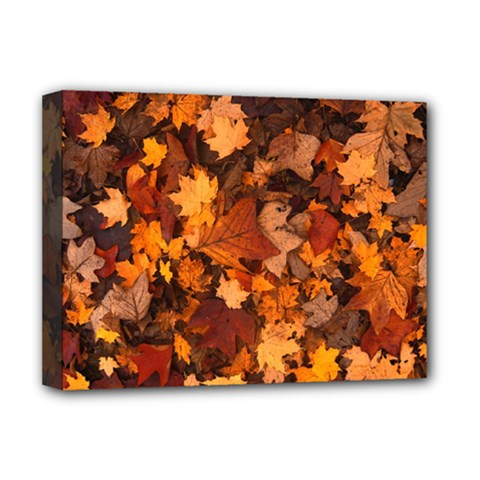 Fall Foliage Autumn Leaves October Deluxe Canvas 16  X 12