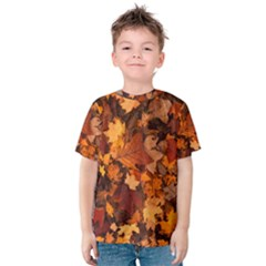 Fall Foliage Autumn Leaves October Kids  Cotton Tee